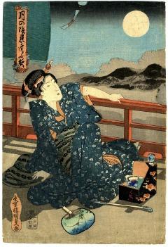 歌川国貞(三代豊国)「月の陰忍逢ふ夜」