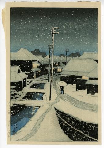 川瀬巴水「東京十二題 雪に暮るゝ寺嶌村」