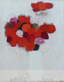 ベルナール・カトラン「白い背景の赤い花束」