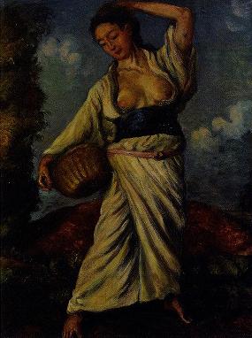 岸田劉生「黒き土の上に立てる女」