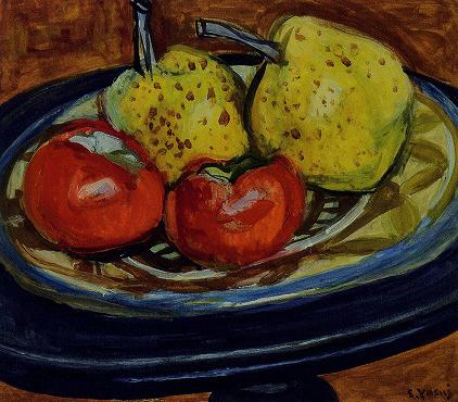 安井曾太郎「柿と梨」