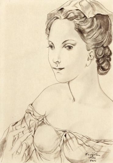 藤田嗣治「若い女」1950