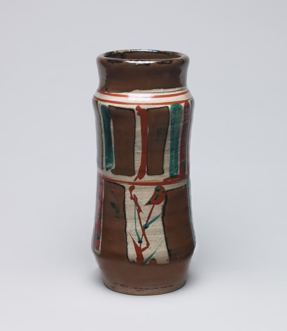 浜田庄司「柿釉 赤絵花瓶」