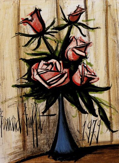 ビュッフェ「Roses rosees au vase bleu」