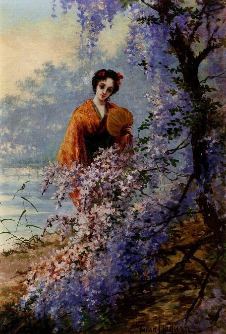 ラグーザ・玉「藤の花と婦人」