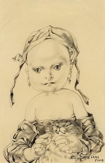 藤田嗣治「猫を抱く少女」1951