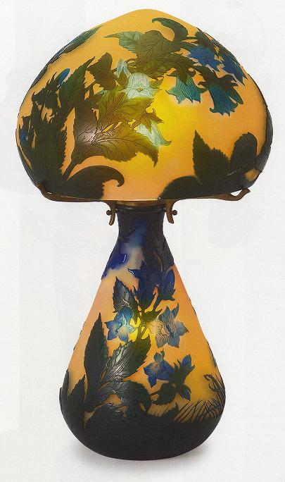 ガレ「蝶と桔梗文ランプ」