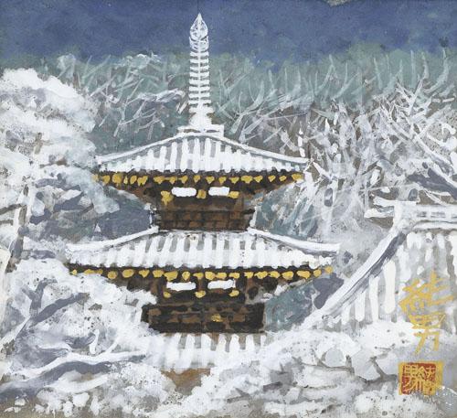 後藤純男「雪后大和」