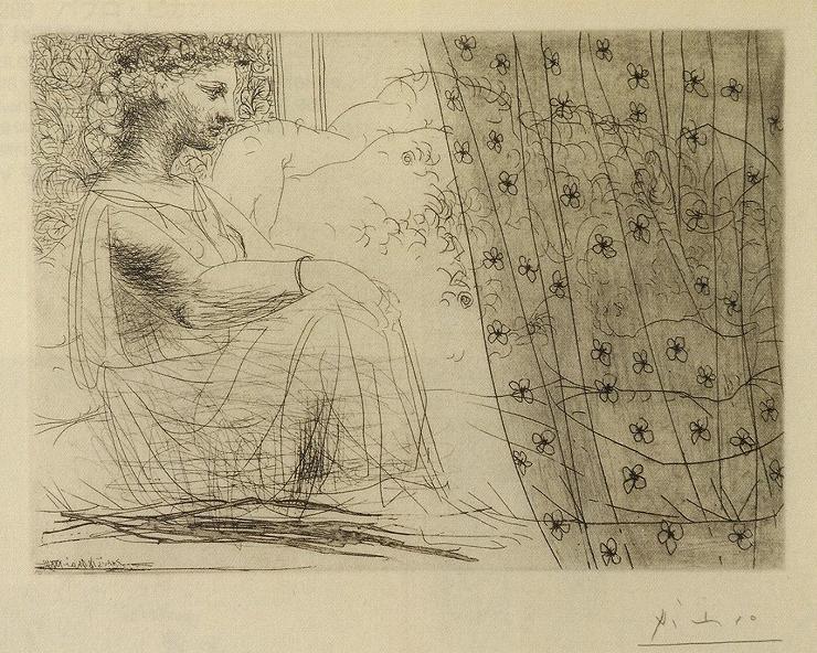 ピカソ「眠るミノタウロスと考える女」