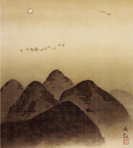 横山大観「山上月」