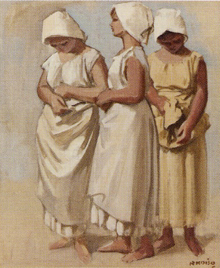 小磯良平「三人の婦人像」