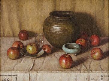 高島野十郎「壺とりんご」