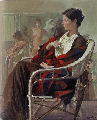 小磯良平「女と椅子」