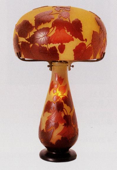 ガレ「花文テーブルランプ」
