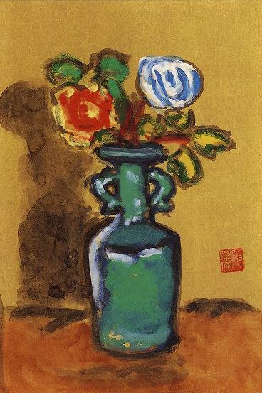 梅原龍三郎「青磁瓶薔薇」