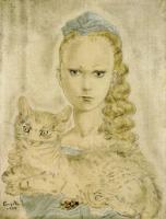 藤田嗣治「猫を抱く少女」