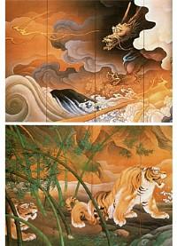 橋本雅邦「龍虎図屏風」