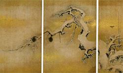 雪中梅竹遊禽図襖 (名古屋城上洛殿三之間北側四面)