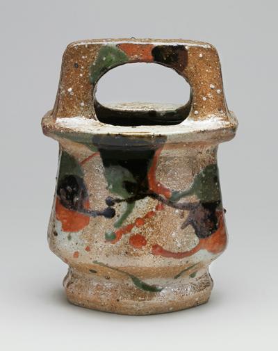 河井寛次郎「三色手付扁壺」
