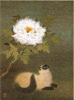加山又造「華と猫」