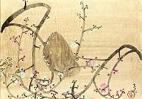 前田青邨「月と紅白梅」