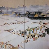 山口蓬春「市場」