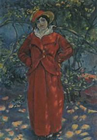 安井曽太郎「赤衣婦人立像」