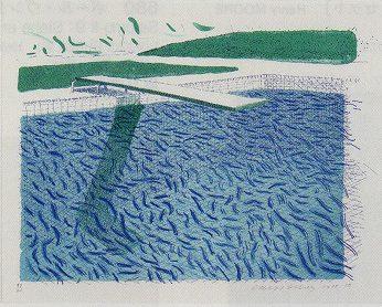 リトグラフの水(線、クレヨン、ブルーの淡彩)