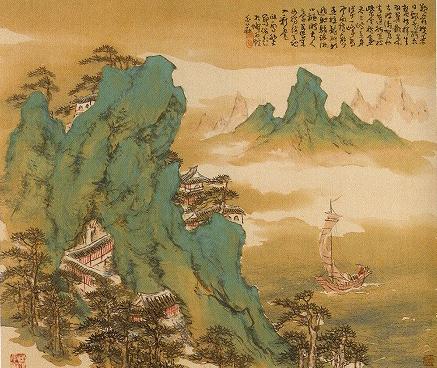 橋本関雪「蓬莱僊観図」