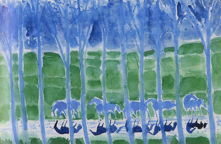 ブラジリエ「木々と馬」
