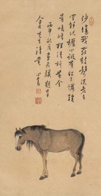 溥儒「立馬(丙申(1956年)作)」