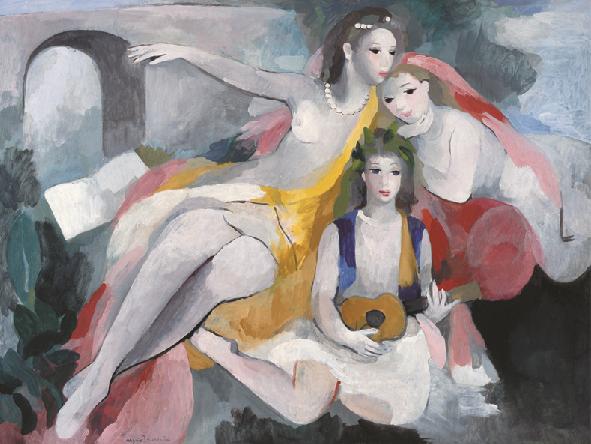 マリー・ローランサン「三人の若い女」